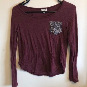 Pacsun maroon floral pocket long sleeve